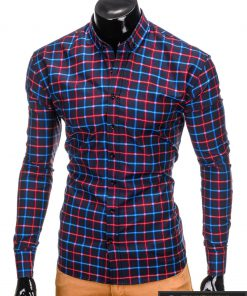 Stilingi Tamsiai mėlynos-raudonos spalvos languoti marškiniai vyrams internetu pigiau