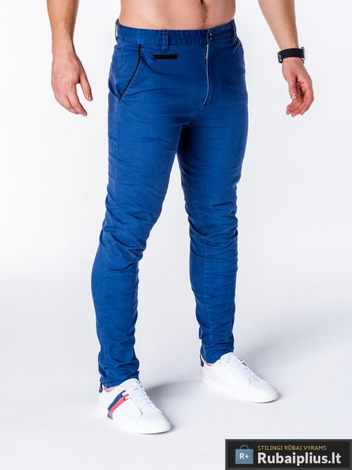 """Mėlynos spalvos vyriškos kelnės """"Carlo"""" chino internetu pigiau"""