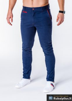 Tamsiai mėlynos vyriškos kelnės