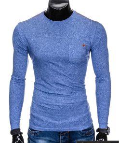 Šviesiai mėlyni marškinėliai vyrams ilgomis rankovėmis internetu pigiau Draf L103