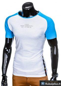 stilingi Baltos-mėlynos spalvos vyriški marškinėliai vyrams internetu pigiau