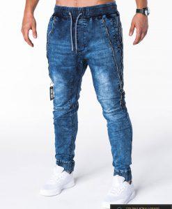 stilingi jogger vyriški džinsai vyrams mėlynos spalvos vyriškos džinsinės kelnės