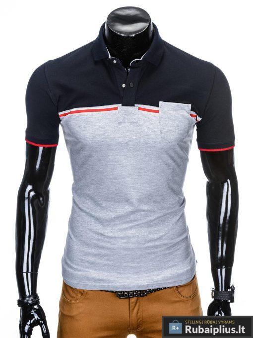 Tamsiai mėlyni-pilki polo marškinėliai vyrams internetu pigiau