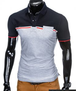 Tamsiai mėlynos-pilkos spalvos vyriški polo marškinėliai vyrams internetu pigiau