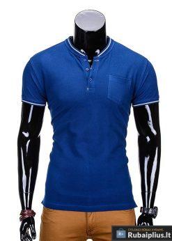 Mėlyni marškinėliai vyrams internetu pigiau Jarom S667