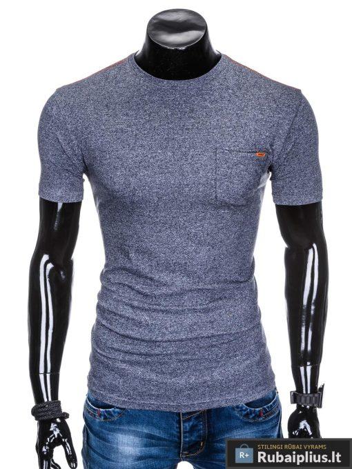 Tamsiai mėlynos spalvos stilingi vyriški marškinėliai vyrams internetu pigiau