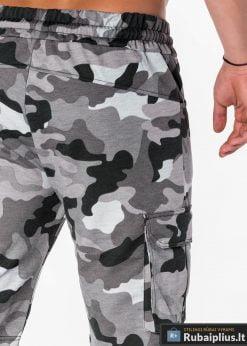 pilkos spalvos vyriški kamufliažiniai šortai vyrams internetu pigiau