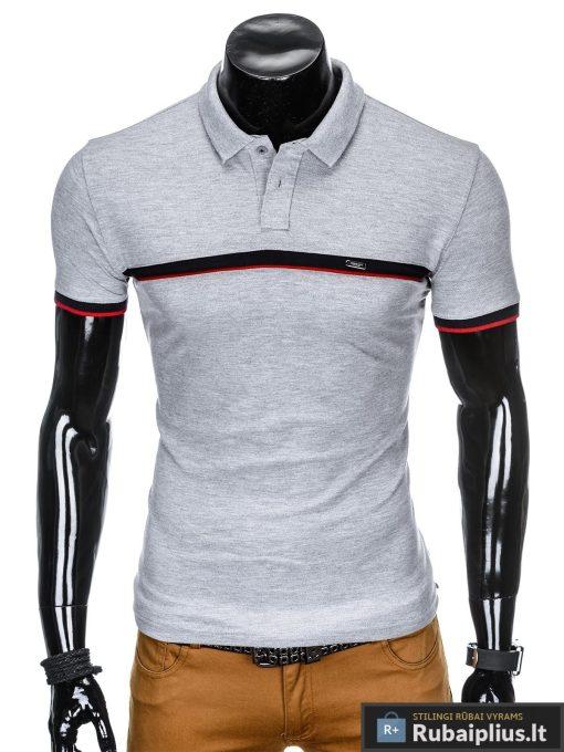 madingi vyriški pilki polo marškinėliai vyrams internetu pigiau