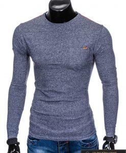Tamsiai mėlyni stilingi vyriški marškinėliai vyrams ilgomis rankovėmis internetu pigiau
