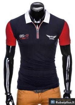 Tamsiai mėlyni polo marškinėliai vyrams internetu pigiau Antonio S880