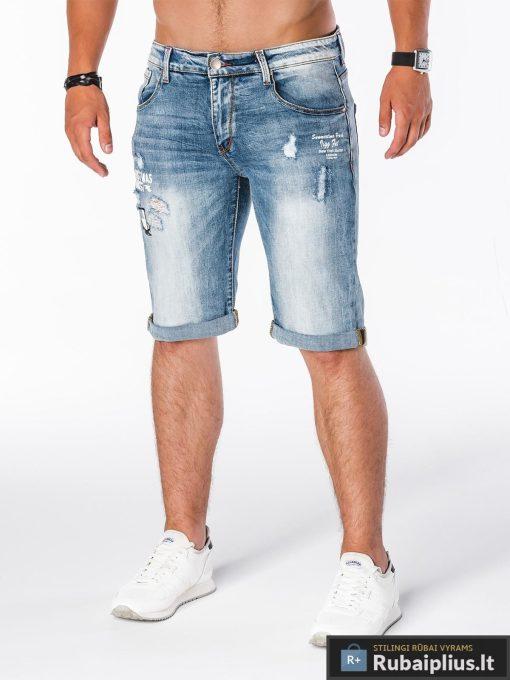 stilingi mėlynos spalvos vyriški džinsiniai šortai vyrams internetu pigiau