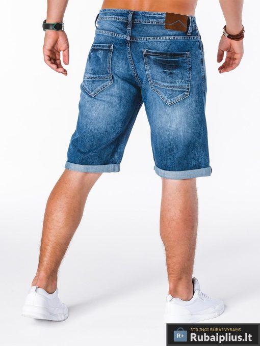 madingi mėlynos spalvos vyriški džinsiniai šortai vyrams internetu pigiau