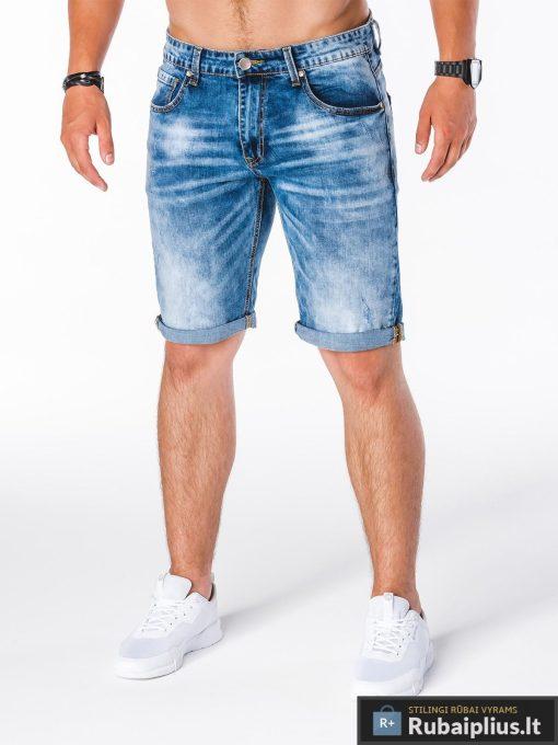 mėlynos spalvos stilingi vyriški džinsiniai šortai vyrams internetu pigiau
