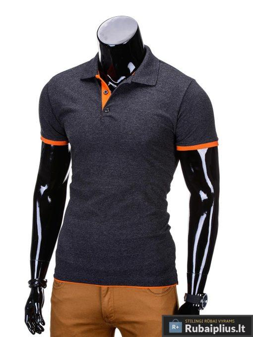 stilingi vyriški tamsiai pilki polo marškinėliai vyrams internetu pigiau