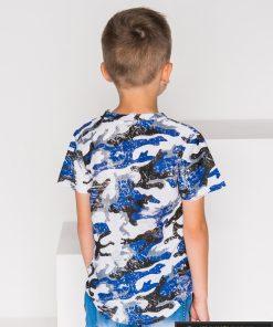 Stilingi balti mėlyni marškinėliai berniukams