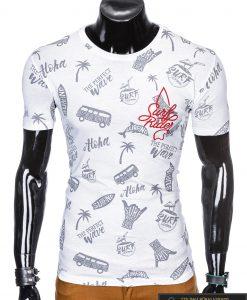 """Madingi balti vyriški marškinėliaisuužrašais vyrams""""Aloha"""" su paveiksliukais internetu pigiau"""