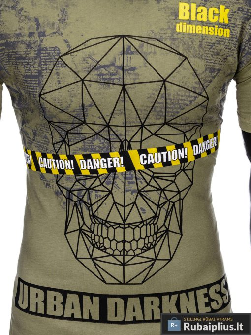 """Madingi Chaki vyriški marškinėliai su kaukolės aplikacija vyrams""""Dimension"""" su užrašu internetu pigiau"""