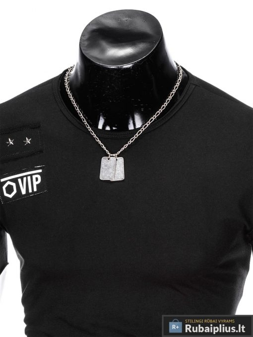 """Madingi vienspalviai juodi vyriški marškinėliaivyrams""""Rul"""" su aplikacija ir užrašu internetu pigiau"""