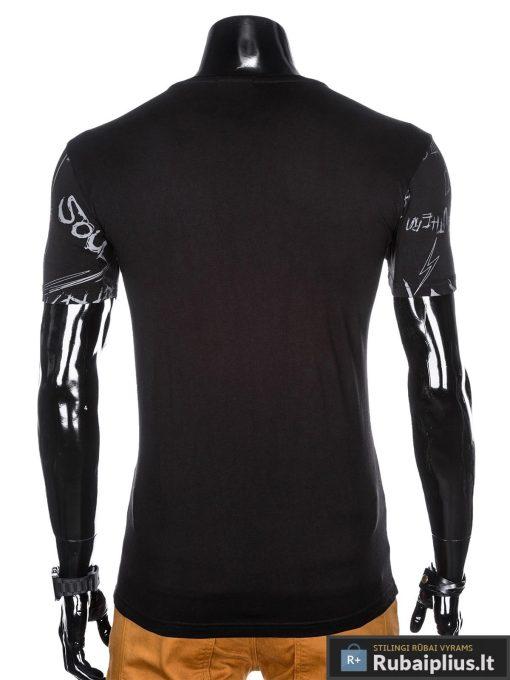 """Madingi juodi vyriški marškinėliaisuužrašais vyrams""""Soul"""" su paveiksliukais internetu pigiau"""