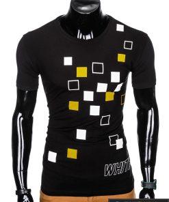 """Madingi juodi vyriški marškinėliai su aplikacija """"Wite"""" su užrašu internetu pigiau"""