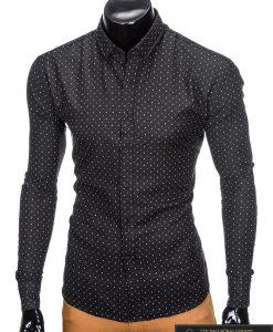 "stilingi Juodi vyriški marškiniai ilgomis rankovėmis ""Krib"" internetu pigiau"