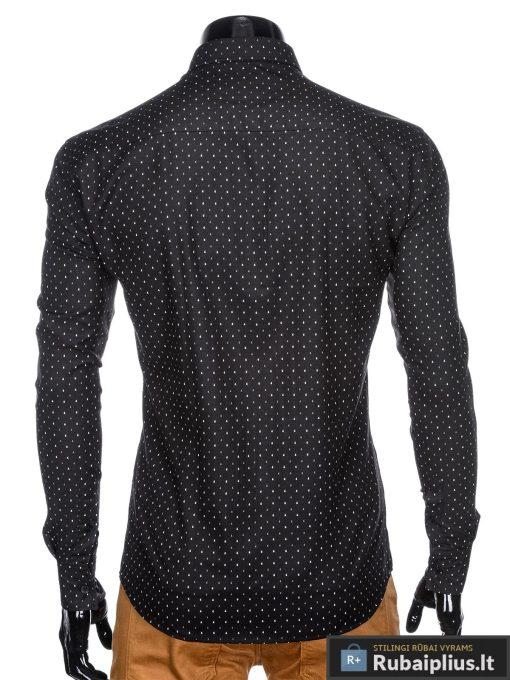 """stilingi Juodi vyriški marškiniai ilgomis rankovėmis vyrams """"Krib"""" internetu pigiau"""