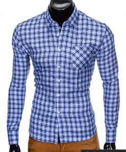 """stilingi Šviesiai mėlyni languoti vyriški marškiniai vyrams """"Lamer"""" internetu pigiau"""