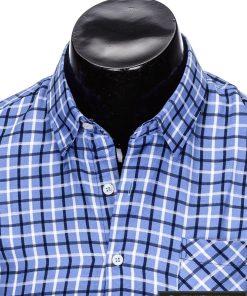stilingi Šviesiai mėlyni languoti vyriški marškiniai vyrams