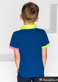 stilingi Tamsiai mėlyni polo marškinėliai berniukams