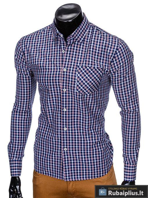 """stilingi Tamsiai mėlyni-raudoni languoti vyriški marškiniai """"Tol"""" internetu pigiau"""