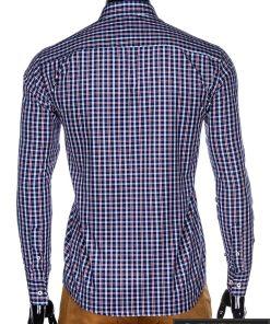 stilingi Tamsiai mėlyni-raudoni languoti vyriški marškiniai