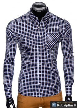 """Madingi tamsiai mėlyni-rudi languoti vyriški marškiniai vyrams """"Lamer"""" internetu pigiau"""
