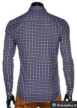 Madingi tamsiai mėlyni-rudi languoti vyriški marškiniai vyrams