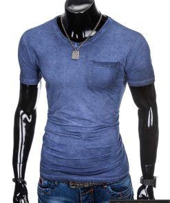 """Elegantiški tamsiai mėlyni vyriški marškinėliai vyrams """"Den"""" su kišene internetu pigiau"""