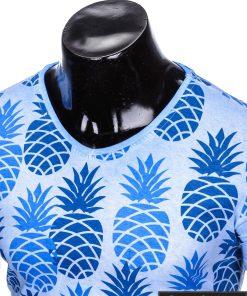 """Stilingi šviesiai mėlyni vyriški marškinėliai vyrams """"Fruto"""" smagus ananasų raštas internetu pigiau"""