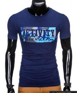 """Madingi tamsiai mėlyni vyriški marškinėliai vyrams """"Keep"""" su užrašu internetu pigiau"""