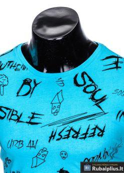 """Madingi mėlyni vyriški marškinėliaisuužrašaisvyrams """"Soul"""" su paveiksliukais internetu pigiau"""