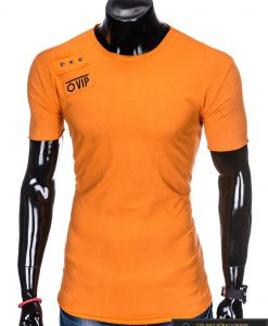 """Madingi vienspalviai oranžiniai vyriški marškinėliaivyrams""""Rul"""" su aplikacija ir užrašu internetu pigiau"""