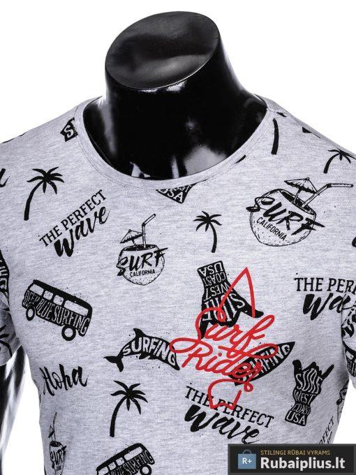"""Madingi pilki vyriški marškinėliaisuužrašais vyrams""""Aloha"""" su paveiksliukais internetu pigiau"""