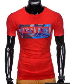 """Madingi raudoni vyriški marškinėliai vyrams """"Keep"""" su užrašu internetu pigiau"""
