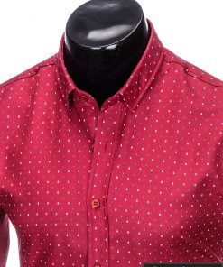 stilingi raudoni vyriški marškiniai ilgomis rankovėmis vyrams