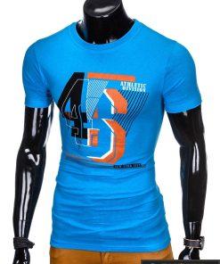 """madingi Šviesiai mėlyni vyriški marškinėliai vyrams """"Vision"""" su užrašu internetu pigiau"""
