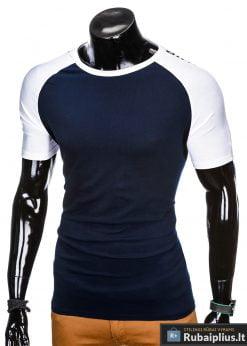 """stilingi tamsiai mėlyni vyriški marškinėliai vyrams """"Rowo"""" su užrašu internetu pigiau"""