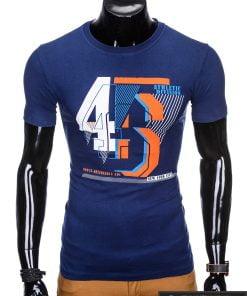 """Madingi Tamsiai mėlyni vyriški marškinėliai vyrams """"Vision"""" su užrašu internetu pigiau"""