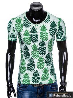 """Šviesiai žali vyriški marškinėliai vyrams """"Fruto"""" smagus ananasų raštas internetu pigiau"""