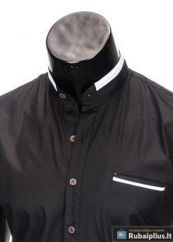 madingi Juodi vyriški marškiniai ilgomis rankovėmis