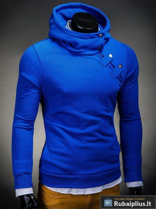 Madingas mėlynas džemperis vyrams su istrizu uztrauktuku ir gobtuvu internetu pigiau