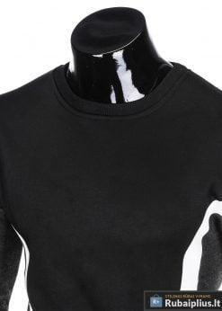 stilingas Juodas vyriškas džemperis subaltomis detalėmis