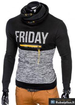 """Madingas juodas vyriškas džemperis su užrašu""""Friday"""" internetu pigiau"""