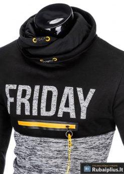 Madingas juodas vyriškas džemperis su užrašu